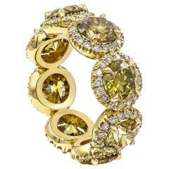 Natural Round Green-Yellow Diamond Halo Eternity Wedding Band