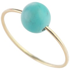 Natural Round Turquoise Solitaire 18 Karat Gold Planet Neptune Boho Band Ring
