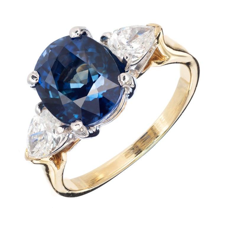 4.53 Carat Natural Sapphire Pear Shaped Diamond Gold Platinum Engagement Ring