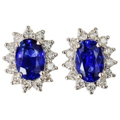 Natural Royal Blue Sapphire VS Diamond Solid 18 Karat White Gold Earrings