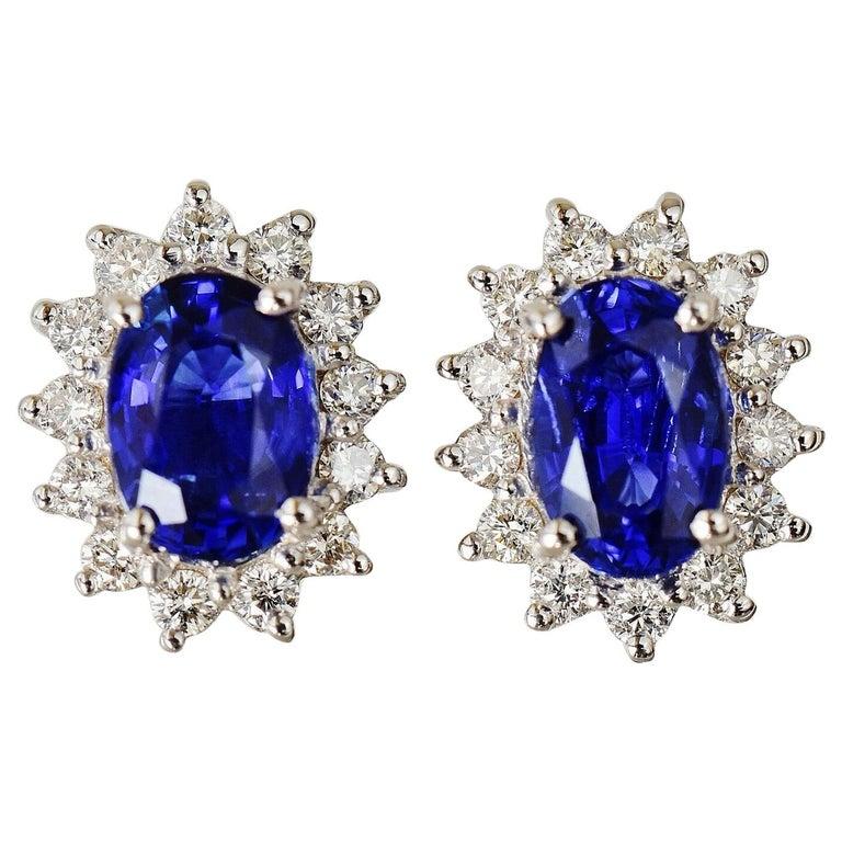 Natural Royal Blue Sapphire VS Diamond Solid 18 Karat White Gold Earrings For Sale