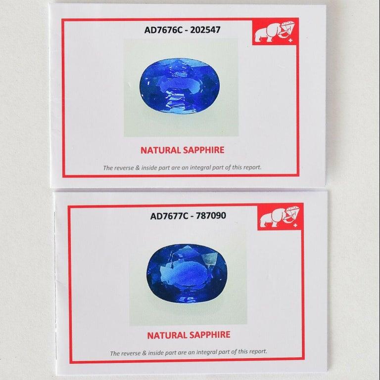 Women's Natural Royal Blue Sapphire VS Diamond Solid 18 Karat White Gold Earrings For Sale