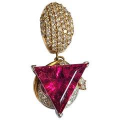 Natural Rubellite Trillion Cut Pendant Set in 18 Karat and Platinum with Diamond