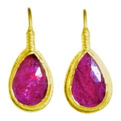 Natural Rubies in Contemporary Gold Earrings