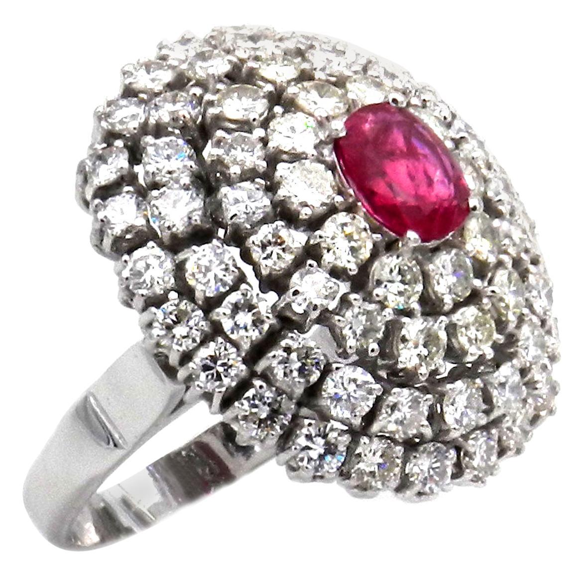 Natural Ruby and 4 Carat Diamond Cocktail Ring in 18 Karat White Gold