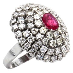 Natural Ruby and 4 Carat Diamond Cocktail Ring in 18 Karat White Gold