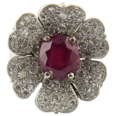 Natural Ruby and Diamond 14 Karat White Gold Flower Cocktail Ring