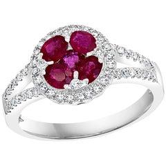 Natural Ruby and Diamond 14 Karat White Gold Ring Size 7