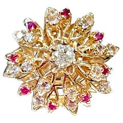 Natural Ruby and Diamond 14 Karat Yellow Gold Flower Cocktail Ring