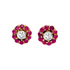 Natural Ruby and Diamond Stud Earrings