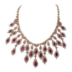 Natural Ruby and Diamond Yellow Gold Necklace and Earring Suite