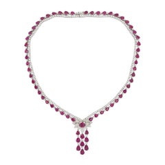 Natural Ruby and White Diamond in 18k White Gold Eternity Necklace