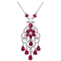Natural Ruby and White Diamond in 18K White Gold Necklace