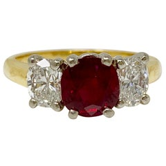 AGL Certified Natural No Heat Ruby and White Diamond Ring in Platinum