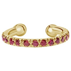 Natural Ruby Birthstone Helix Cuff Earring in 14K Yellow Gold, Shlomit Rogel