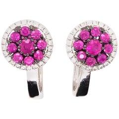 Natural Ruby Cluster Earrings
