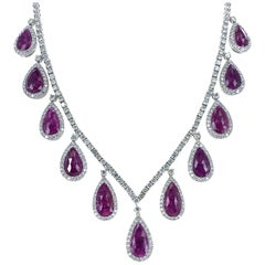 Natural Ruby Diamond 18 Karat White Gold Drop Estate Necklace
