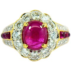 Natural Ruby Diamond Halo Ring in 18k Yellow Gold, With GIA Gem Report. 2.42 CT.