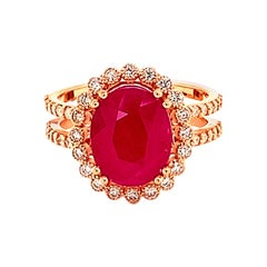 Natural Ruby Diamond Ring 14k Gold 4.9 TCW GIA Certified