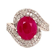 Natural Ruby Diamond Ring 14k Gold 6.32 TCW GIA Certified