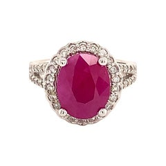 Natural Ruby Diamond Ring 14k Gold 6.5 TCW GIA Certified