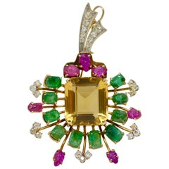 Natural Ruby, Emerald, Citrine and Diamond Broach or Pendant in 14 Karat Gold.