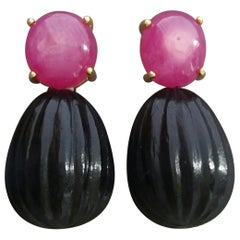 Natural Ruby Oval Cabochons Black Onyx Carved Drops 14 Karat Gold Earrings