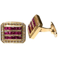 Natural Ruby Princess Cut Channel Set Diamond Square Cufflinks 18K 1.50 Carat
