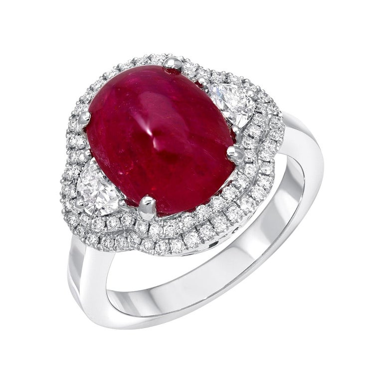 Natural Ruby Ring Cabochon 5.00 Carats GIA Certified Unheated For Sale