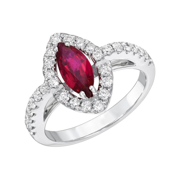 No Heat Ruby Ring 1.01 Carats GIA Certified Unheated For Sale