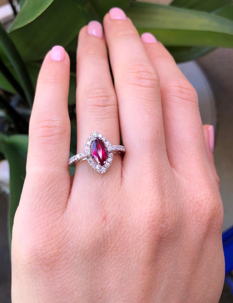 Marquise Cut No Heat Ruby Ring 1.01 Carats GIA Certified Unheated For Sale
