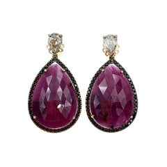 Natural Ruby Rose Cut Pears in a Black Diamond Halo, Rose Gold and Diamond Pears