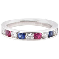Natural Ruby, Sapphire and Diamond Band Ring Set in 18 Karat White Gold