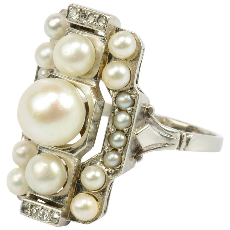 Pearl Ring with Diamonds French Art Deco Certified Natural Uncultured For Sale