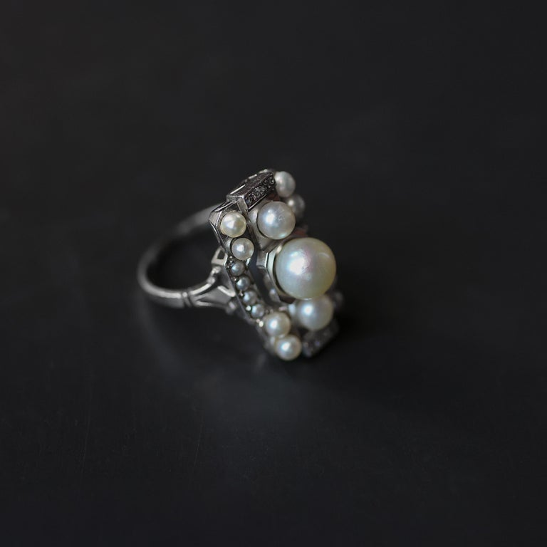 Pearl Ring with Diamonds French Art Deco Certified Natural Uncultured For Sale 6
