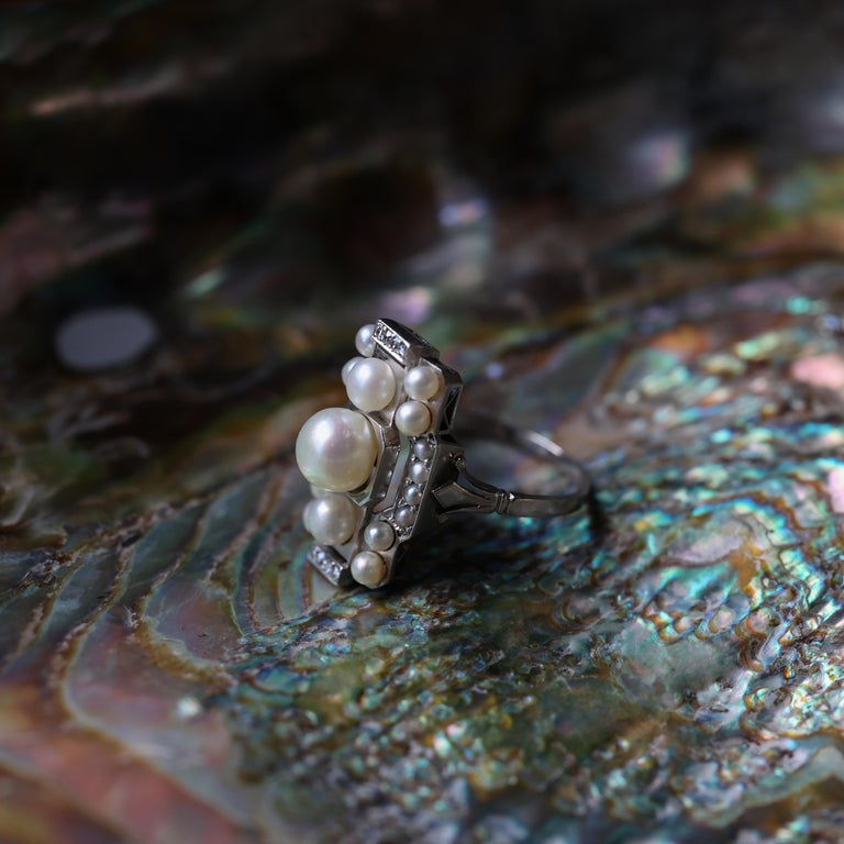 Pearl Ring with Diamonds French Art Deco Certified Natural Uncultured For Sale 8