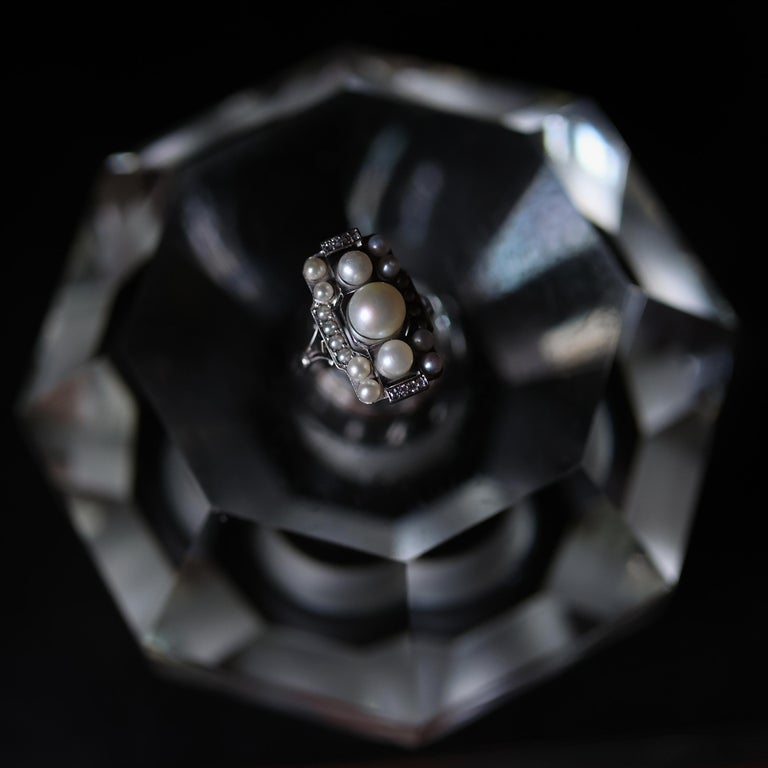 Pearl Ring with Diamonds French Art Deco Certified Natural Uncultured For Sale 9
