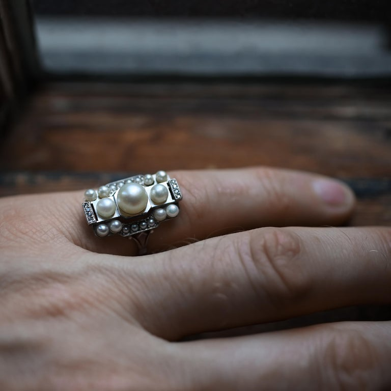 Pearl Ring with Diamonds French Art Deco Certified Natural Uncultured For Sale 10