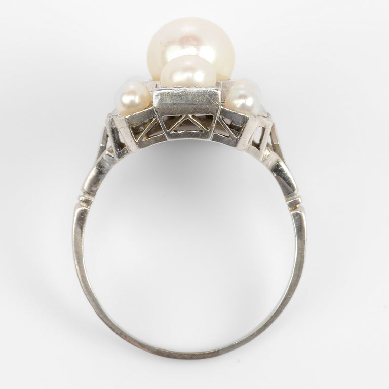 Pearl Ring with Diamonds French Art Deco Certified Natural Uncultured In Excellent Condition For Sale In Southbury, CT