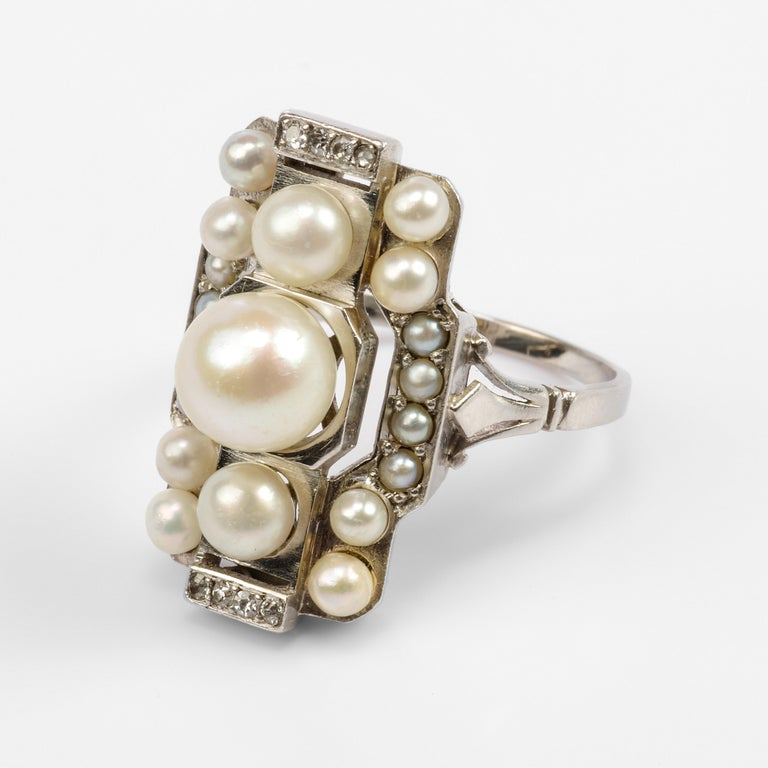 Women's or Men's Pearl Ring with Diamonds French Art Deco Certified Natural Uncultured For Sale