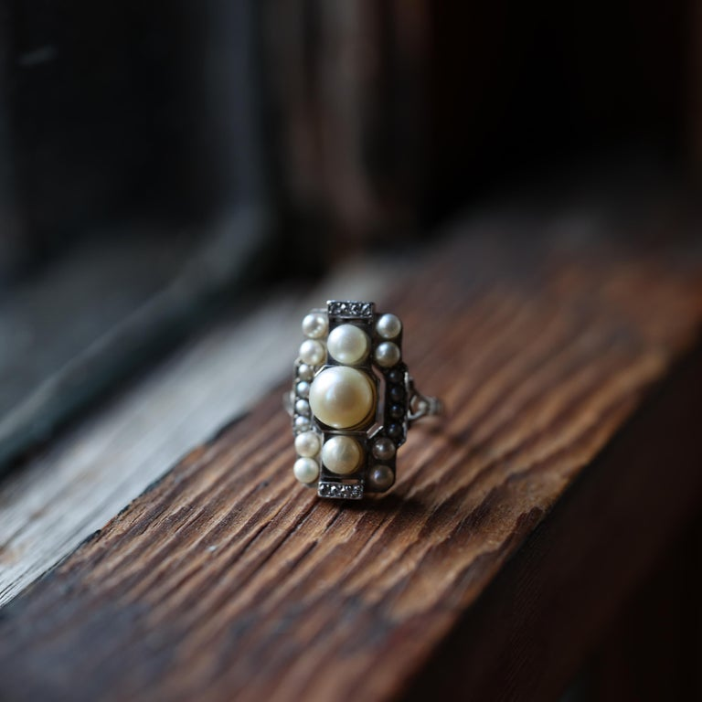 Pearl Ring with Diamonds French Art Deco Certified Natural Uncultured For Sale 1