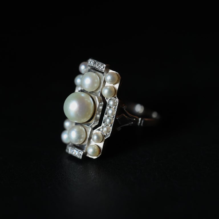 Pearl Ring with Diamonds French Art Deco Certified Natural Uncultured For Sale 3