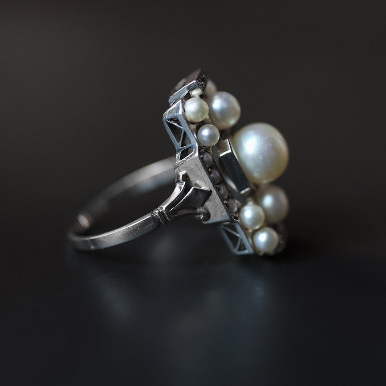Pearl Ring with Diamonds French Art Deco Certified Natural Uncultured For Sale 4