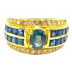 Natural Sapphire and Diamond, 2.25 Carat Ring, 18 Karat