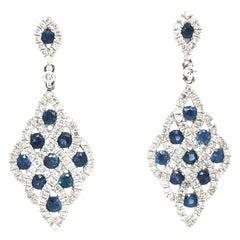 Natural Sapphire and Diamond Fashion Earrings