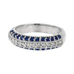 Natural Sapphire and Diamond Fashion Ring Band 14 Karat White Gold