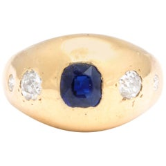 Natural Sapphire and Diamond Gold Gypsy Ring