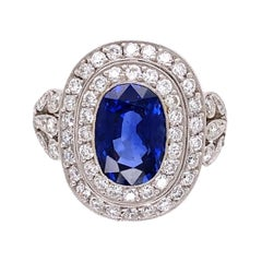 Natural Sapphire and Diamond Platinum Double Halo Ring Estate Fine Jewelry