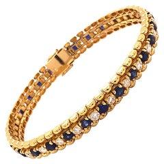 Natural Sapphire and Diamond Tennis Bracelet