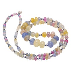 Natural Sapphire Beaded Long Necklace with a Gold and Diamond Rhondells